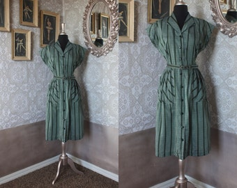 Vintage 1950's Blue and Green Striped Button Front Dress Medium