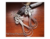 New Loop-design - Triple Loops earrings - flat silver - handmade