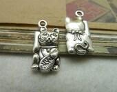 20pcs 11x22mm The Cat  Silver Color Retro Pendant Charm For necklace Jewelry /Pendants C7263