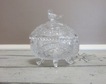 Darling Hofbauer Crystal Covered Dish with Bird Trinket Dish Glass Bird Bowl Covered Bowl Jewelry Dish Footed Dish Candy Dish Glass Bird
