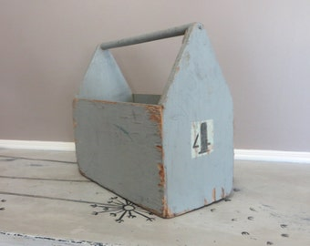 Rustic Wood Carryall Grey Storage Storage Box Storage Tin Storage Basket Industrial Storage Rustic Tool Chest Wood Storage Chippy