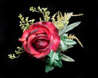 Woodland Wedding Fascinator- Fairy Costume Accessories- LARP- Rose Fascinator- Burgundy Flower Clip- Woodland Flower Head Piece- Rose Clip
