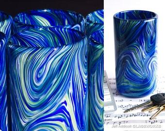 Hand Blown Glass Tumbler - White, Blue and Green Swirls
