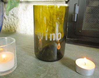 "Hand-Etched ""Wino"" Wine Bottle Vase / Candle Holder + Floating Candle"