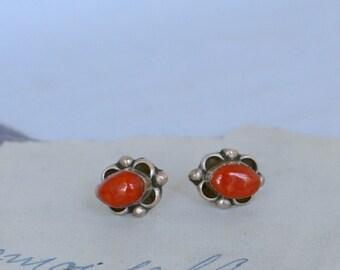 Vintage Italian Coral Stud Earrings