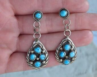 Vintage Zuni Turquoise Earrings - Pierced