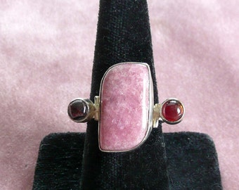 Handcrafted Pink Gemstone Sterling Silver Ring .925
