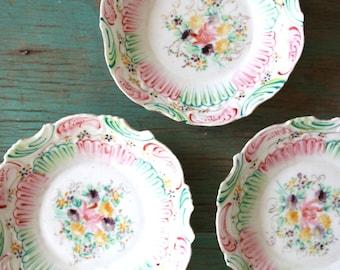 Hand-Painted Porcelain Bowls, Floral Bowls, Vintage Porcelain Bowls