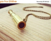 VALENTINES DAY SALE Searching for Stars - Golden Telescope Necklace