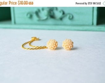 VALENTINES DAY SALE Peach Mums Double Gold Chain Ear Cuff (Pair)
