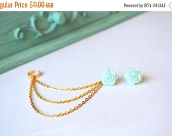 VALENTINES DAY SALE Mint Green Rose Bloom Triple Gold Chain Ear Cuff (Pair)