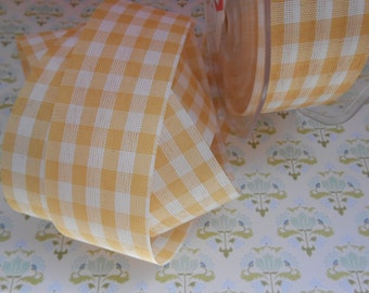 """Provence Gingham Ribbon Vichy Beige 1 1/2"""" width 10 yards"""