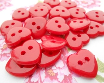 Heart Buttons Red 12 pcs