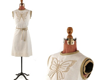 Vintage 1960's Cream Linen Embroidery Butterfly Mod Mid Century Shift Summer Cocktail Dress M