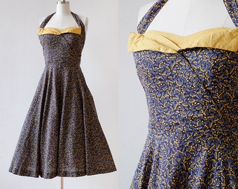 1950s Pin Print Cotton Halter Dress / 1950s Halter Top Dress / Novelty Print Dress / 1950s Cotton Sundress / Blue Yellow / Medium 28 Waist