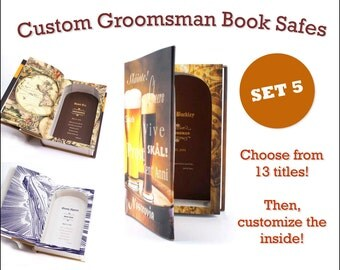 Groomsmen Gift Book Safe - Set of 5 - CUSTOM Best Man Wedding personalized gift with your own message inside FREE SHIPPING