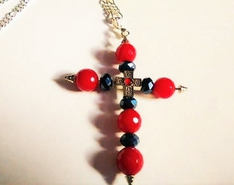 Cross Double Cross Red Jet Black Sterling Silver Jade Cross