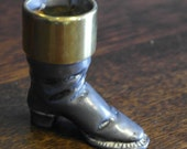 antique pewter and brass match spill holder
