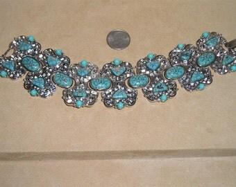 Vintage Signed Hobe Faux Turquoise Panel Bracelet 1960's Jewelry 2028