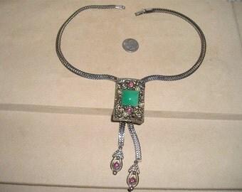 Vintage Purple Rhinestone Green Glass Dangle Necklace 1950s Jewelry 2029