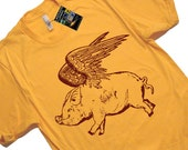 Flying Pig T Shirt - American Apparel Tshirt - S M L Xl 2X (7 Color Options)