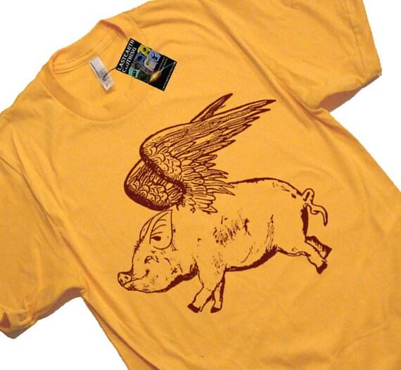 Flying Pig T Shirt - Mens Tshirt - S M L Xl 2X (7 Color Options)