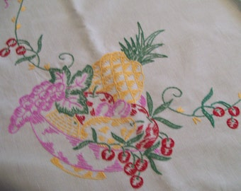 Embroidered Table Topper Tablecloth Hand Stitched Fruits Pineapple Cherry Pear