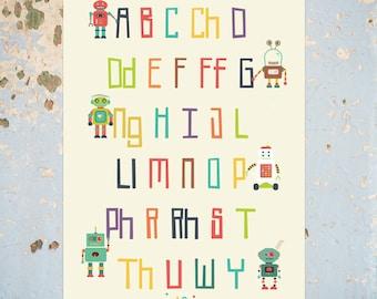 Robot Welsh Language Alphabet Print, Yr Wyddor