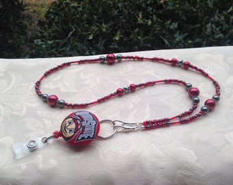 Ohio State Beaded Lanyard Scarlet Red and Gray Buckeyes ID Badge Lanyard