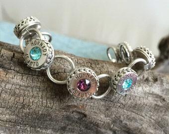 Bullet Bracelet, Hinged Bracelet, Link Bracelet, Sterling Silver, LLJ244