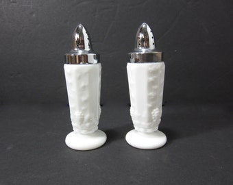 Vintage White Milk Glass Salt and Pepper Shakers with Metal Lids