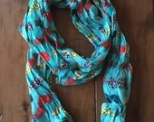 Mustache scarf - turquoise