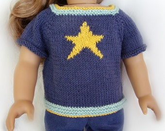 18 Inch Doll Clothes - Hand Knit Sweater - Blue Short Sleeved Sweater with Yellow Star - Made to Fit American Girl or Other 18 Inch Dolls