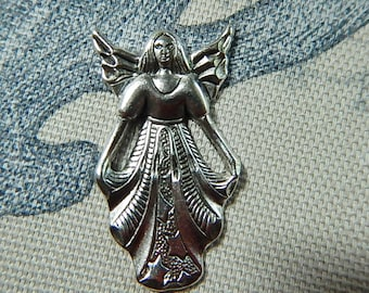 Large Angel Matte Silver Ox Charm Pendant One Sided Stamping Angelic Beautiful Angels Jewelry Collage
