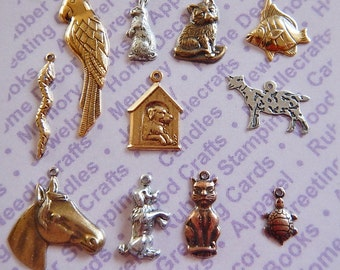 Antiqued Silver Plated and Gold Plated Animal Charms Blister Card of 11 Different Charms Special Deal