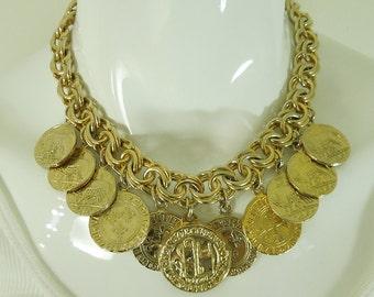 1970s Runway Heavy Byzantine Faux Coin Charm Bib Necklace Statement Size