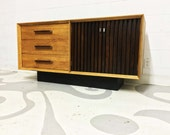 mid century modern buffet by Lane  with three drawers and two doors in two tone wood in great condition