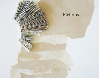 Original Book Art - Fictions - handmade book fragments, tea-stained paper, printed text, ripped, torn pieces, 8x10, 20x25 cm