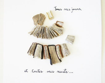 Modern Book Art - Tous mes jours et toutes mes nuits (All my days and all my nights) - linen, leather books, romantic vows, elegant, 8x10