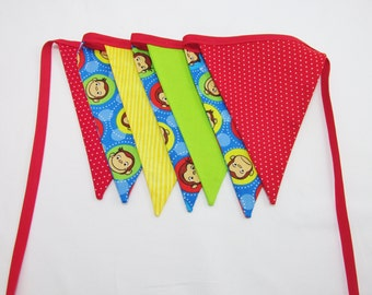 Primary Colors Curious George Fabric Banner - Curious George Party Decor - Room Decor - Your choice of 5 7 or 9 Large Flags - 1st Birthday