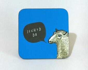 New Melamine Coaster Iechyd Da Welsh Cheers Royal Blue Sheep