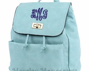 Personalized Faux Leather Aqua Backpack Purse  with 3 Initial Monogram Included