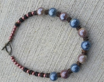 Blue and brown ceramic beaded necklace for Mother's Day/ Graduation/ Birthday gifts