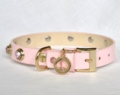 "Pink Kate Spade Leather Dog Collar, Medium pink leather dog collar, Pink Leather Dog Collar - fits 12.5-15.5"" neck."
