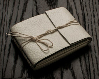 Leather Journal or Leather Sketchbook, Pocket Sized, White Leather Handbound Notebook