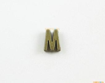 30Pcs Antique Brass Letter M Bracelet Bead Letter M Chain Bead 11mm (PND1082)
