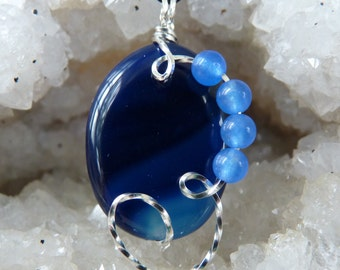 Agate Necklace, Agate Pendant, Wire Wrapped Necklace, Blue Necklace, Blue Pendant, Sterling Silver Agate Necklace, Wire Wrapped Blue Agate
