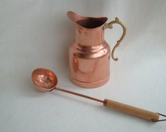Vintage Copper and Brass Pitcher and Hammered Copper Ladle with Wooden Handle