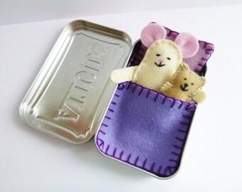 Wee Mouse Tin House - cream felt mouse in tin w purple bedding & teddy bear - Altoids tin toy - travel toy - purse pocket toy  ready to ship