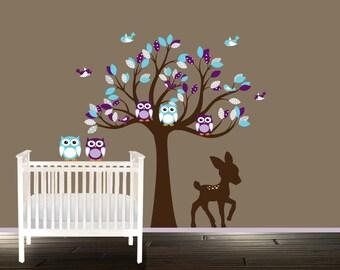 Chirldrens wall decal - nursery tree - Owl wall decal - vinyl stickers, wall tree, aqua purple